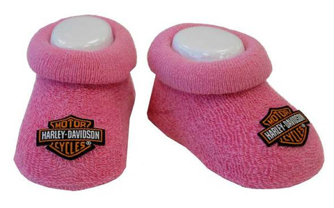 Harley-Davidson Baby Girls' Boxed Stretch Terry Booties, Pink