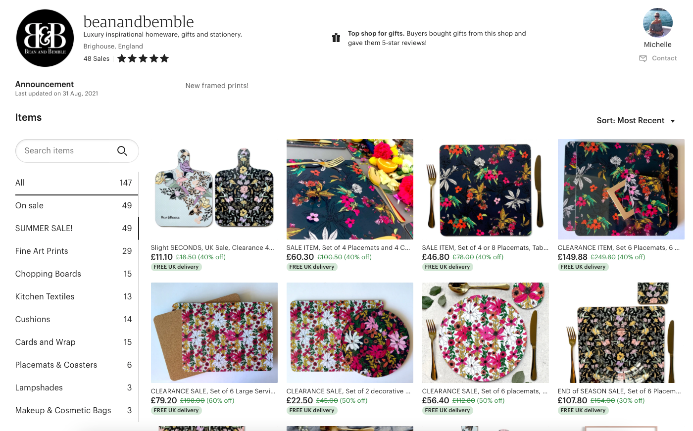 etsy store bean and bemble