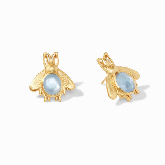 Bee Earring Iridescent Chalcedony Blue