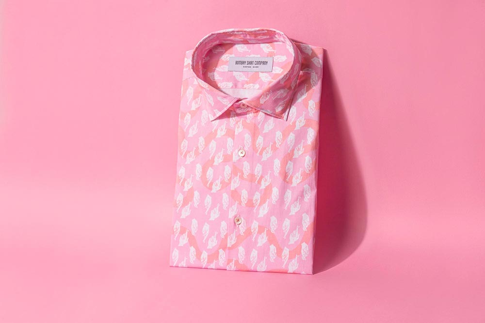 Bombay Shirt Company Pink Fingers Crossed Printed Shirt in Collaboration with Safomasi
