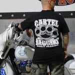 Cartel_Baggers_Black_Mens_Tee_BrassKnuckles_Back_Modeled