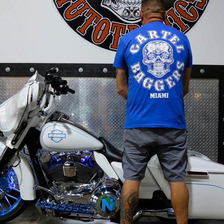 Cartel_Baggers_RoyalBlue_Mens_Tee_White_Skull_Back_Modeled