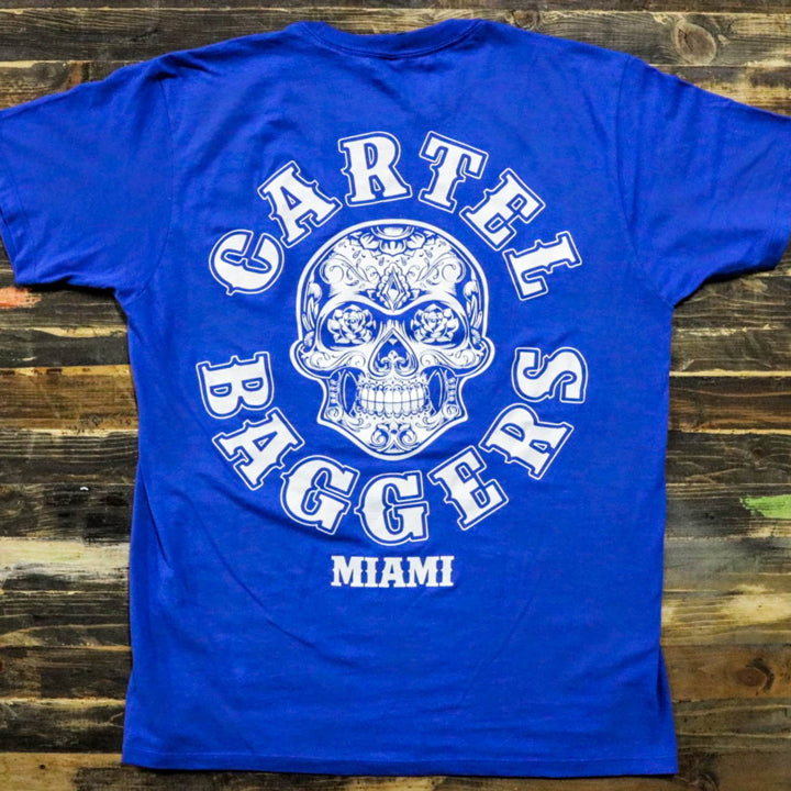 Cartel_Baggers_RoyalBlue_Mens_Tee_White_Skull_Back
