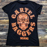 Cartel_Baggers_Black_Ladies_VNeck_Tee_Large_Orange_Skull