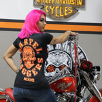 Cartel_Baggers_Black_Ladies_VNeck_Tee_Large_Orange_Skull_Back_Modeled