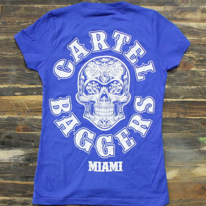 Cartel_Baggers_RoyalBlue_Ladies_VNeck_Tee_Large_White_Skull