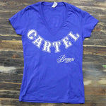 Cartel_Baggers_RoyalBlue_Ladies_VNeck_Tee_Large_White_Skull_Front