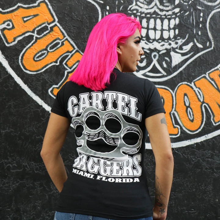 Cartel_Baggers_Black_BrassKnuckles_Ladies_VNeck_Tee_Wearing