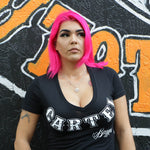 Cartel_Baggers_Black_BrassKnuckles_Ladies_VNeck_Tee_Model