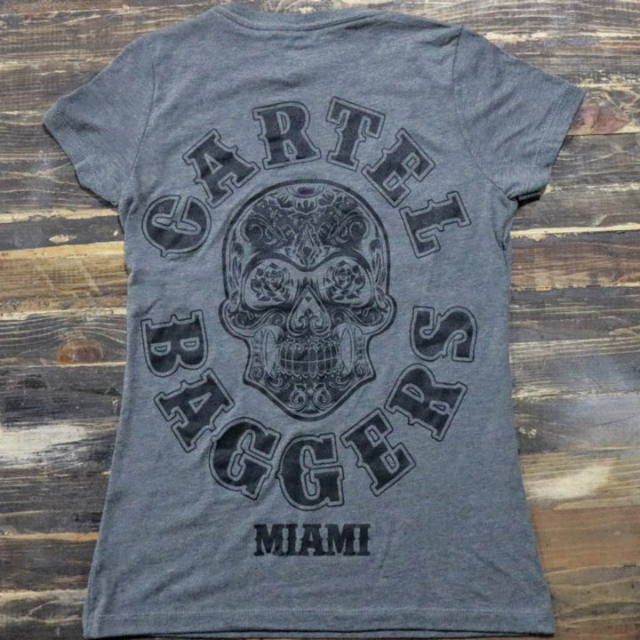 Cartel_Baggers_Grey_Ladies_VNeck_Tee_Black_Skull_Back