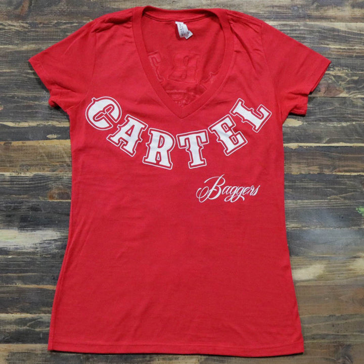 Cartel_Baggers_Red_Ladies_VNeck_Tee_Large_White_Skull_Front