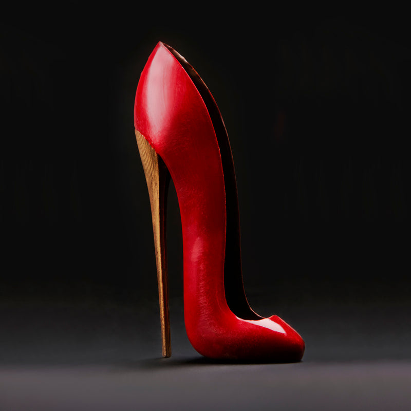 red chocolate shoe. Red stiletto. Red chocolate heel