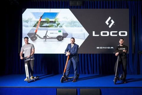 Paddy and Jason from LOCO Scooters standing with Donnacha Neary founder of Sonica in First Landings.