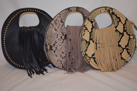 Round Snake Print Crossbody Bag (Accessory)