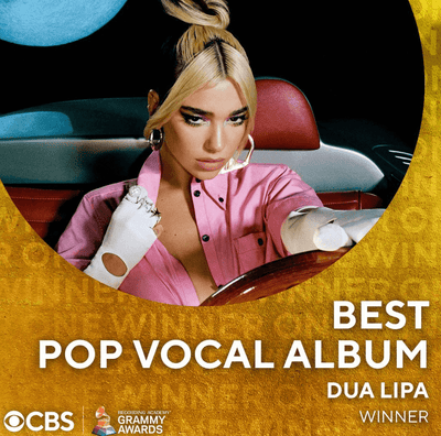 3/15/2021 - DUA LIPA WINS BEST POP VOCAL ALBUM AT 2021 GRAMMYS