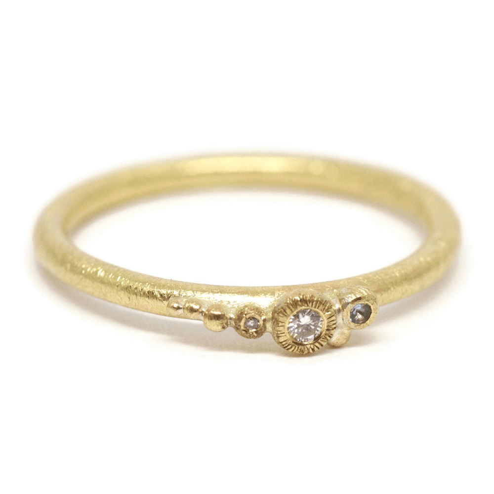 Sea Shore Shaped Stacker Ring | 9ct Yellow Gold Skinny Band With Pebbles Set With Aquamarine And Diamonds
