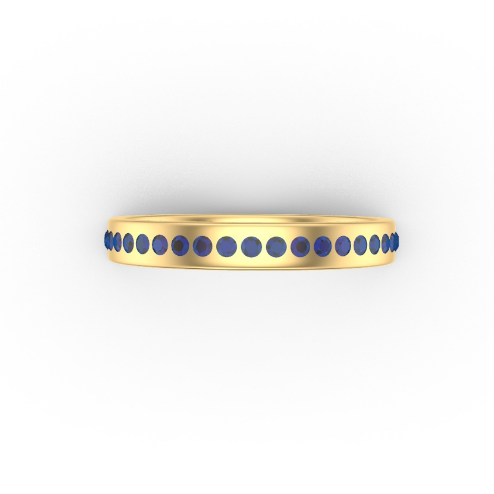 Gold Band Ring | Flush Set With Sapphires