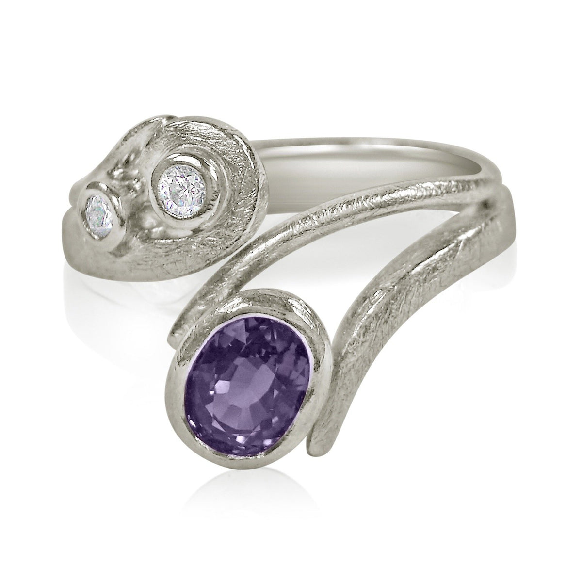 Curl Curve Ring: 18ct White Gold with Purple Sapphire & Diamonds