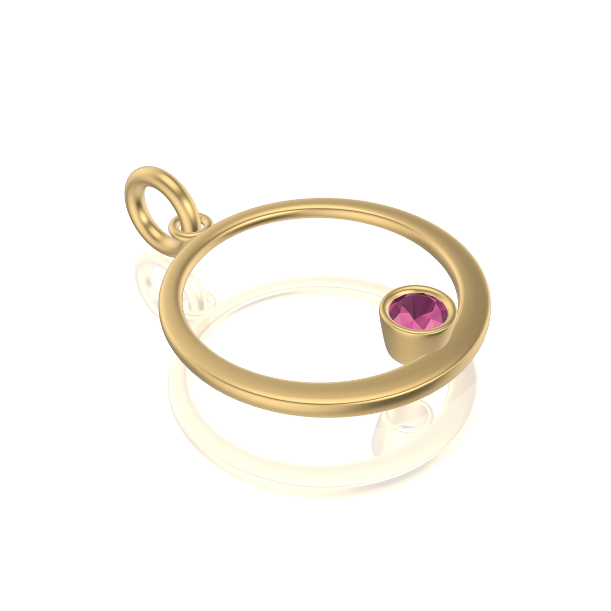 Mothers Circle Framed Charm | Gold Pendant, Large | Pink Or Purple Garnet Or Spinel
