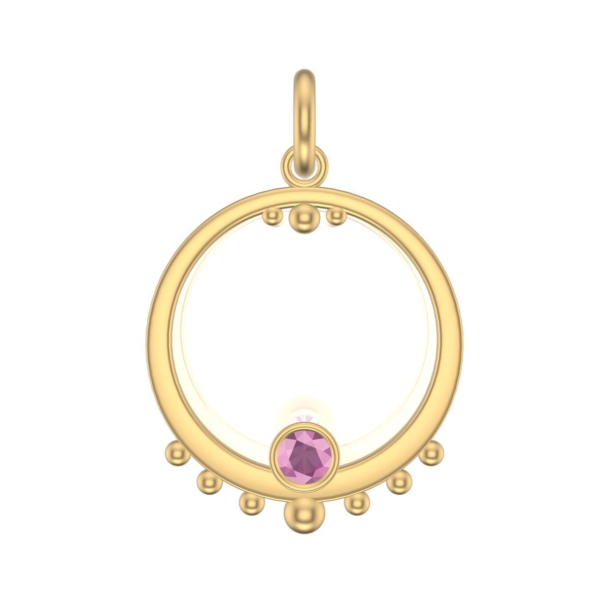 Mothers Circle Framed Charm | Gold Pendant With Granules, Large | Pink Or Purple Garnet Or Spinel