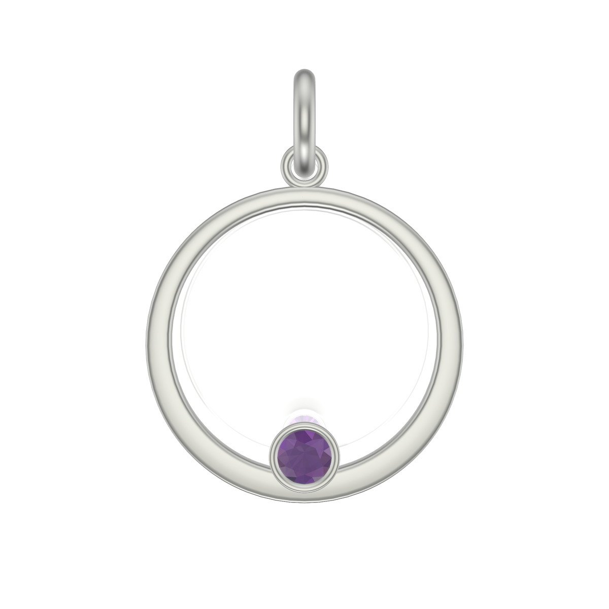 Mothers Circle Framed Charm | Silver Pendant, Large | With Pink Or Purple Garnet Or Spinel