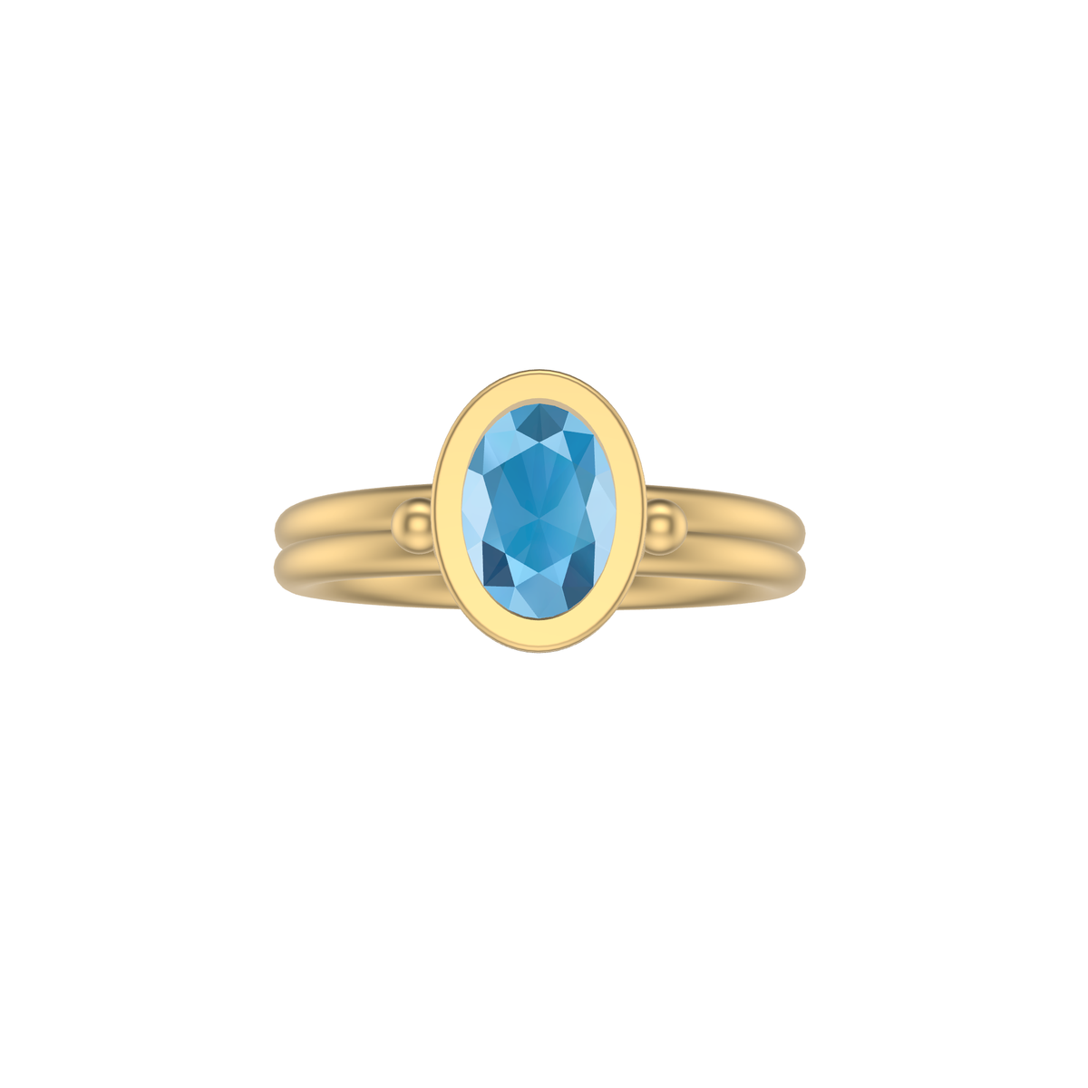 Ruby Long Oval Sea Shore Shaped Stacker | 9ct Gold Stacking Ring | Blue Topaz Or Blue Zircon