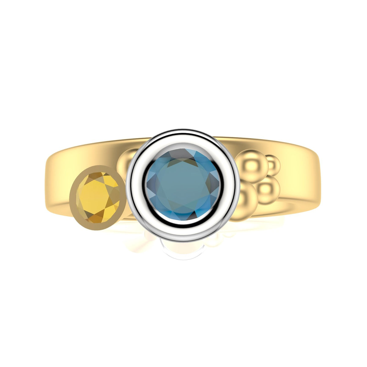 Sea Shore Shaped Stacker Ring | Yellow & White Gold 4mm Wide Flat Band | With A Blue Zircon, Tanzanite Or Yellow Sapphire Accent Stones And Little Diamonds