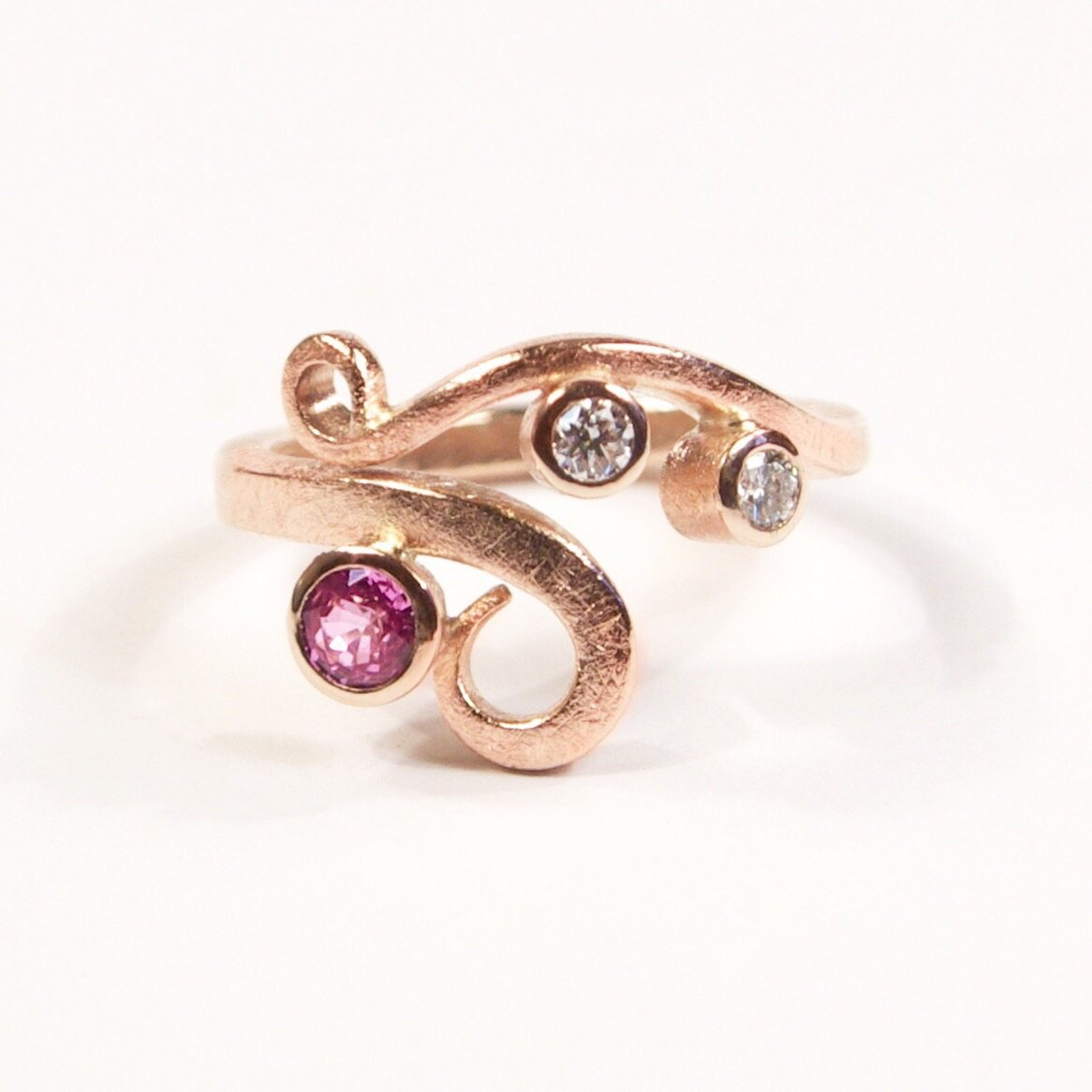Classic Curl Ring: 9ct Red Gold with Pink & White Sapphires