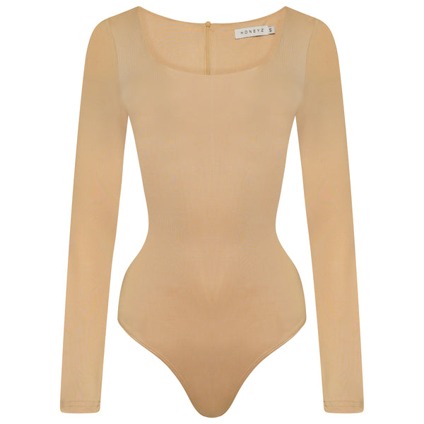 Nude Contoured Long Sleeved - Thong Bodysuit