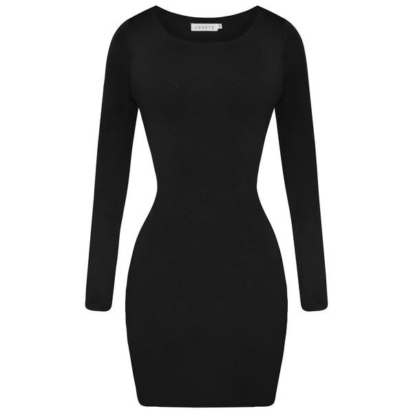 Black - Contoured Mini Dress