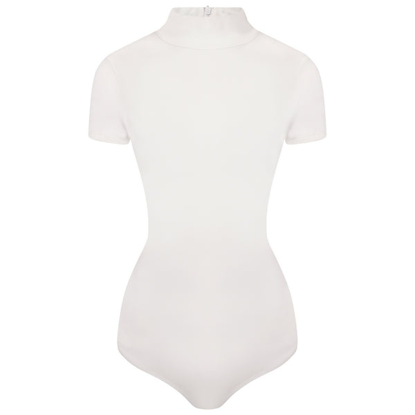 Sculpted White Capped Sleeve Thong Bodysuit