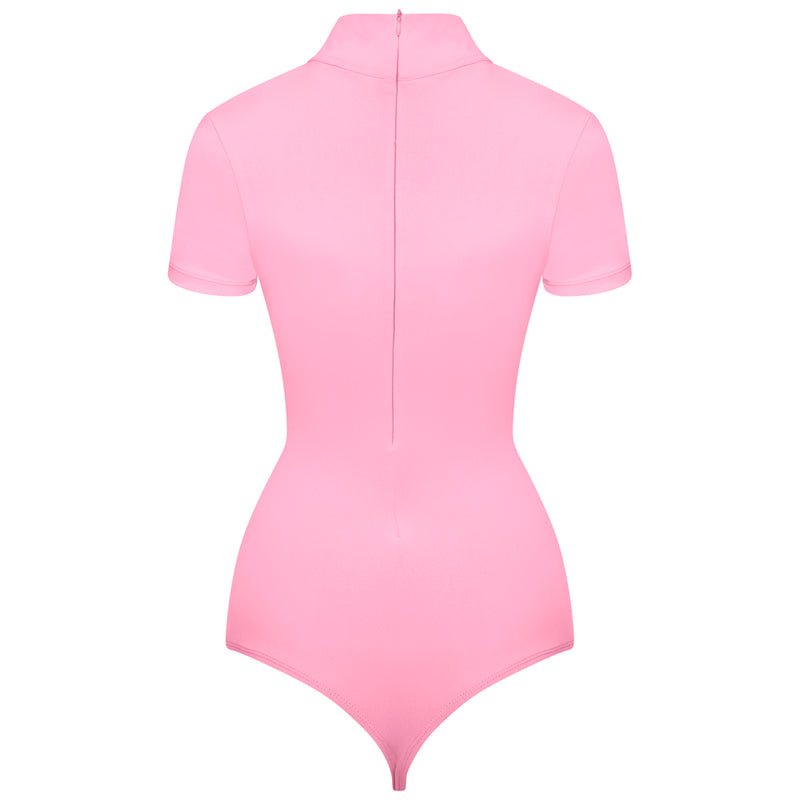 Pink Capped Sleeve Thong Bodysuit