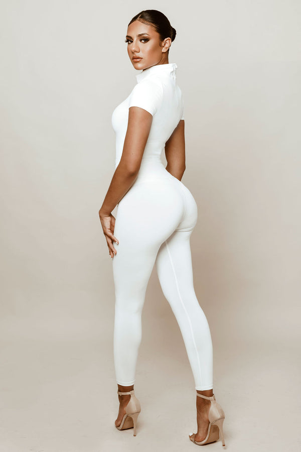 Sculpted White High Waisted Leggings