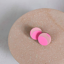 Load image into Gallery viewer, Medium Circle Stud Earrings - Pale pink & fluoro