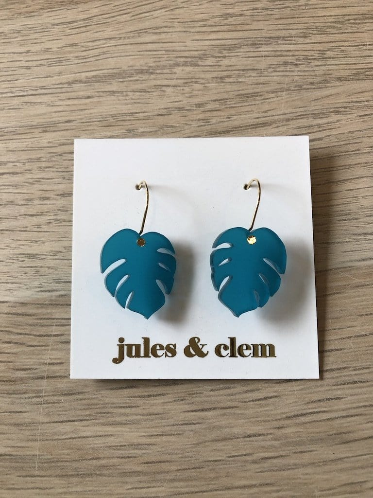 Mini Monstera Drop Earrings -  Teal
