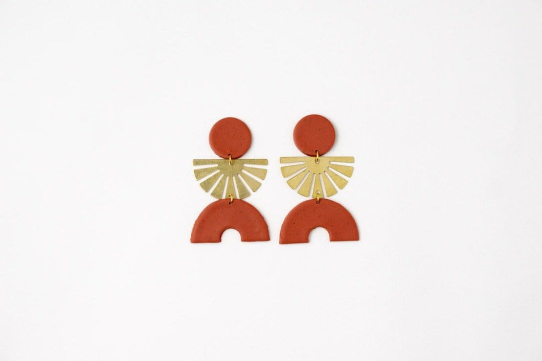 Ursula: Speckled Terracotta Stud Earrings