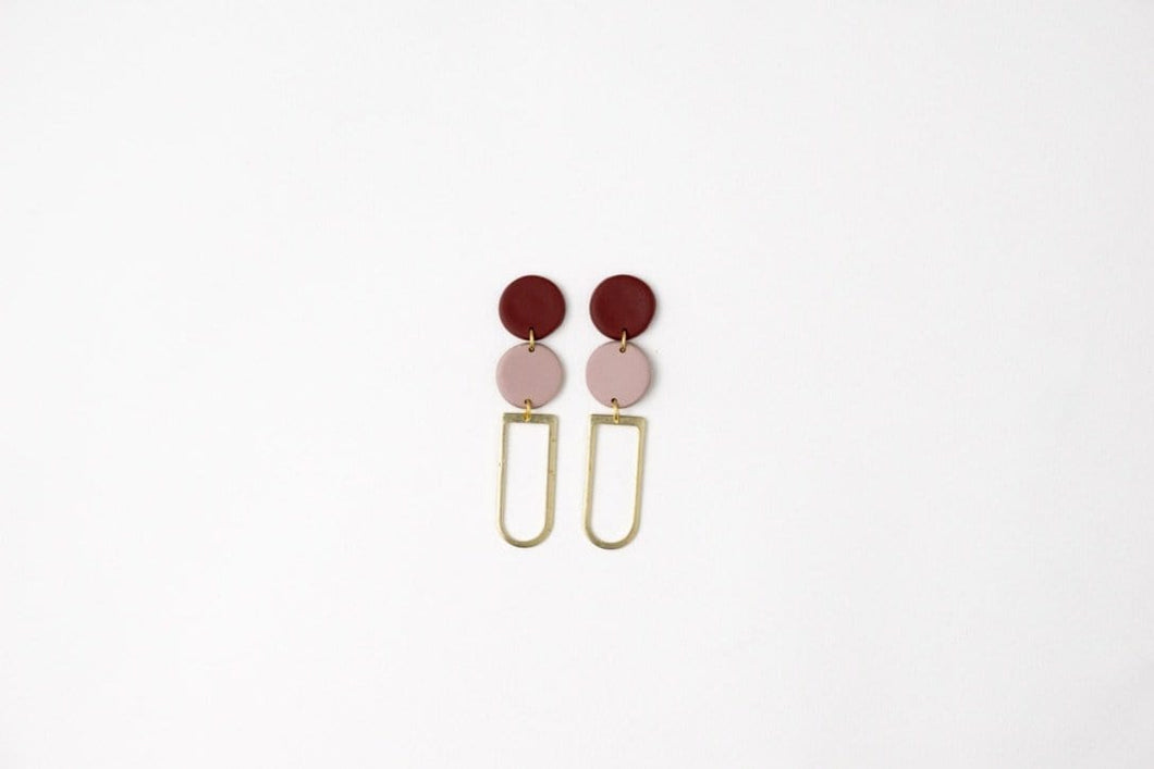 Isabelle: Burgundy & Pink Stud Earrings