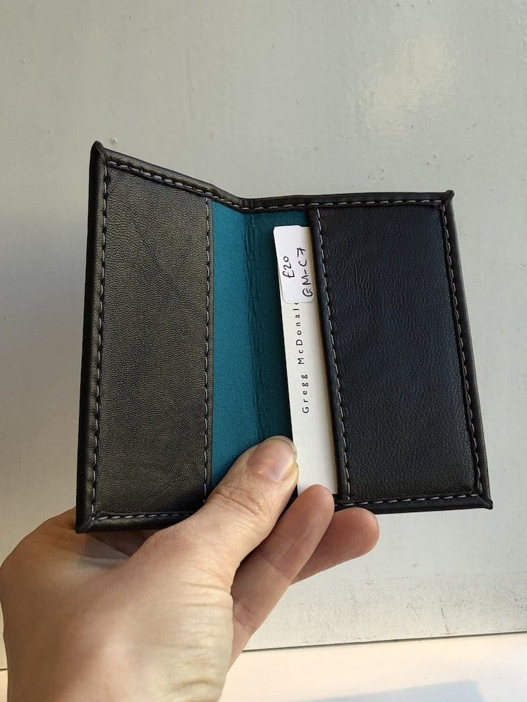 Brown Nappa / teal lining ID Holder