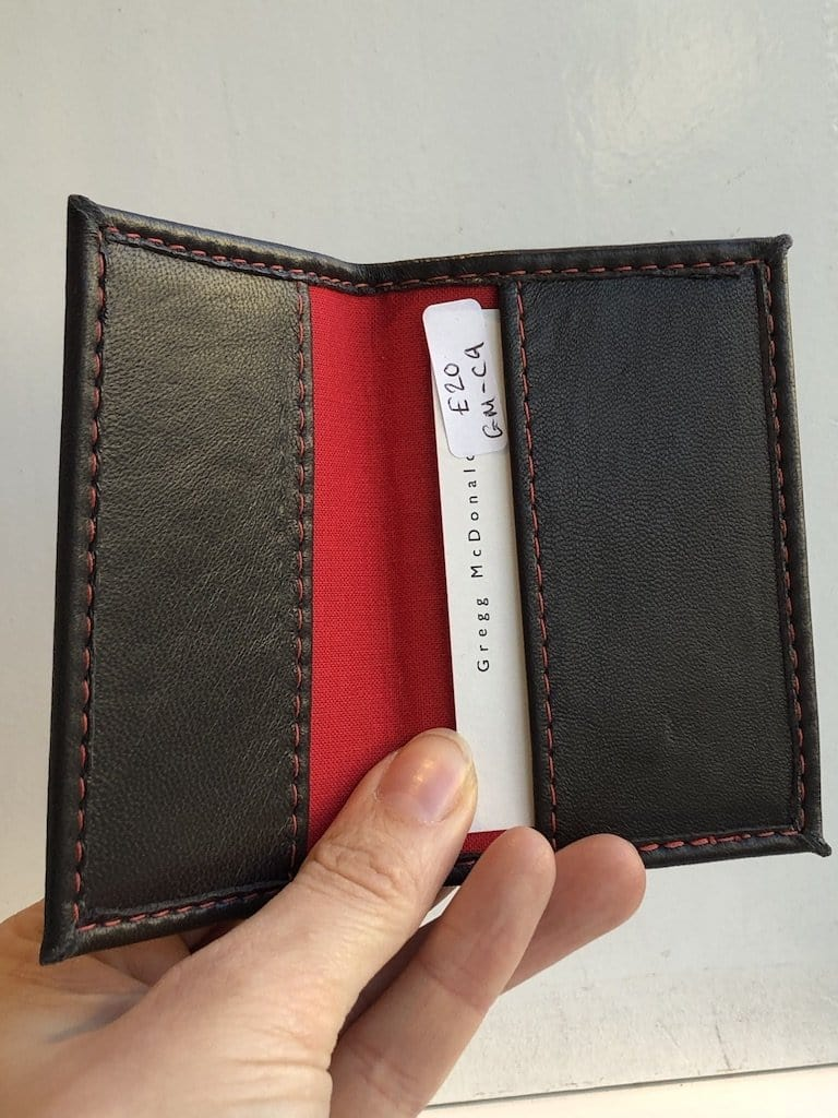 Brown Nappa / red lining ID Holder