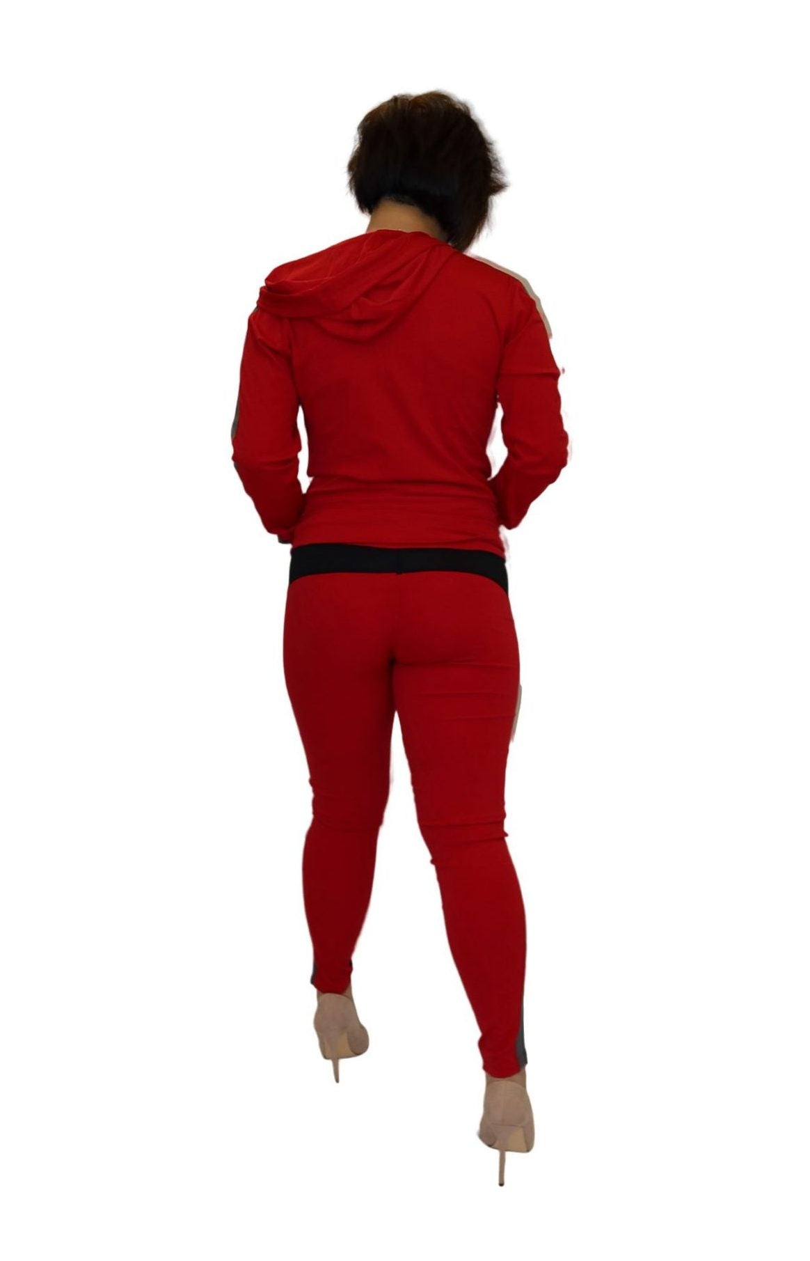 Red 3 piece sweatsuit.