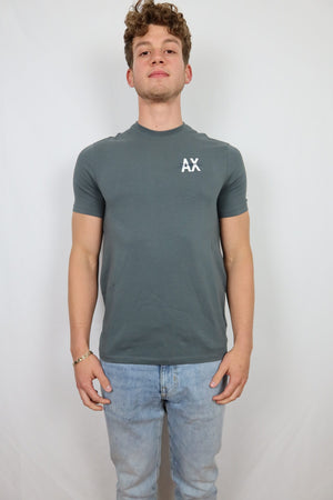 Grey AX tee with small AX on pec