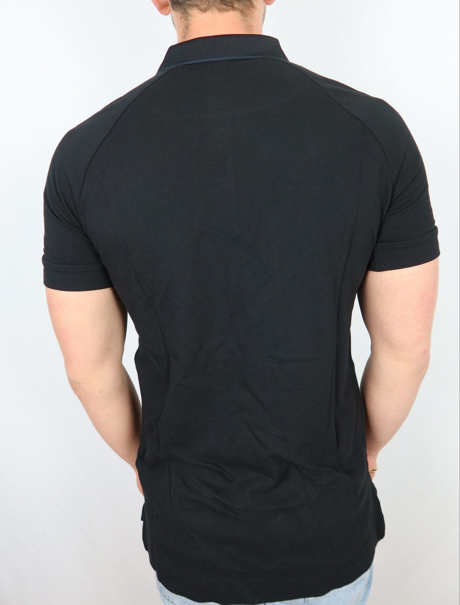 Plain Black A/X Collar Shirt With Shoulder Logo