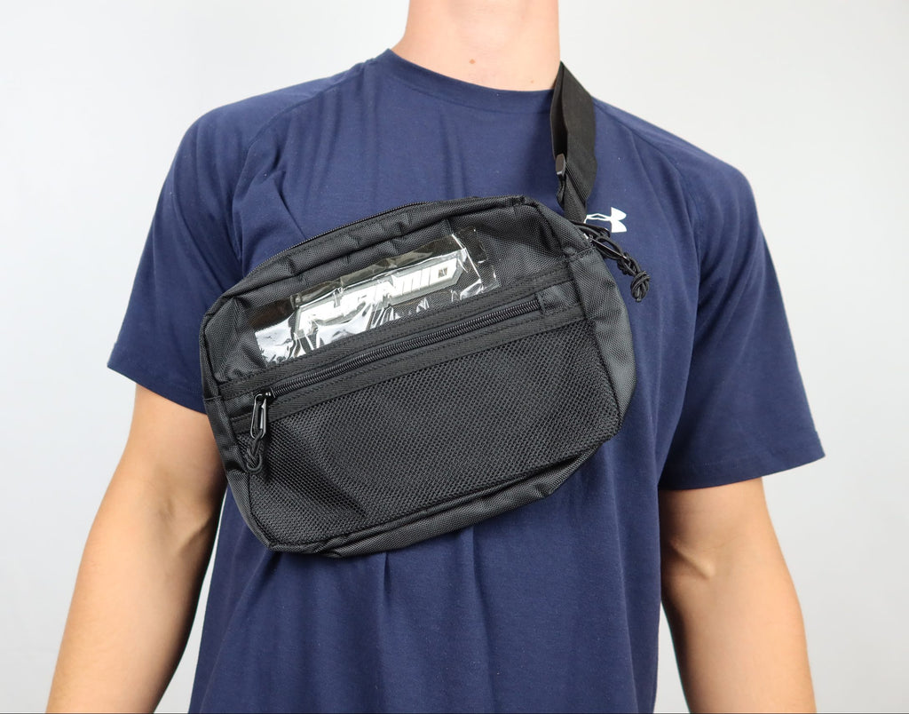 Black pyramid black side bag