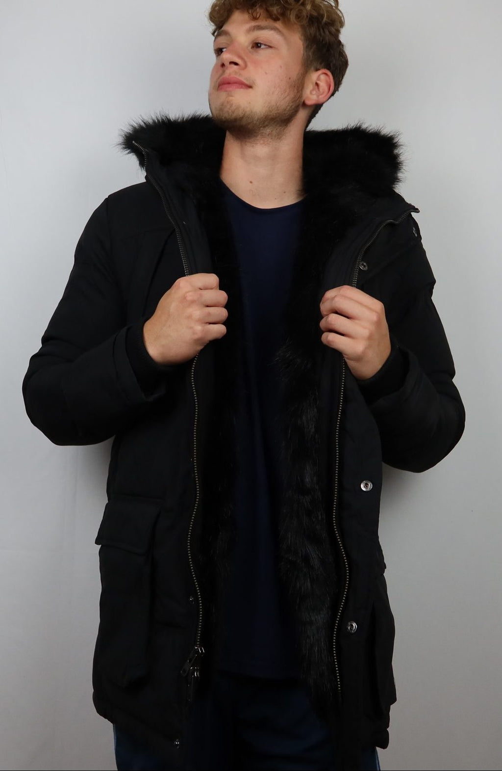 Jordan Craig Fur Trench Coat