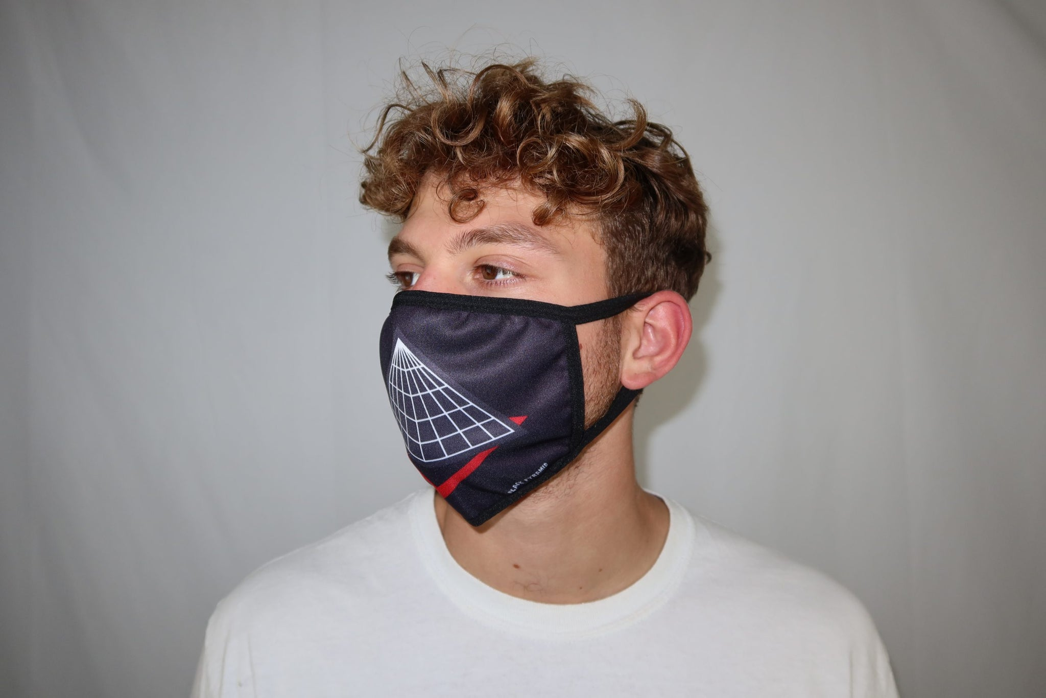 Black pyramid logo face mask