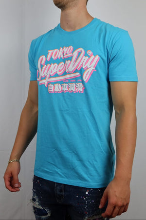 Miami blue super dry tee with vintage logo