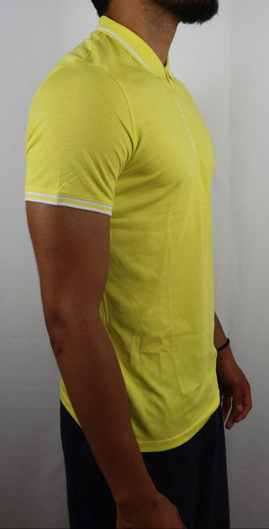Neon Yellow AX collar tee with zipper lettering