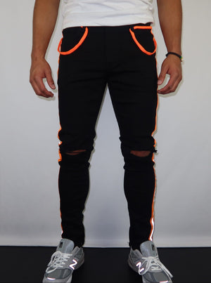 Black and Orange Safety Tape Pants