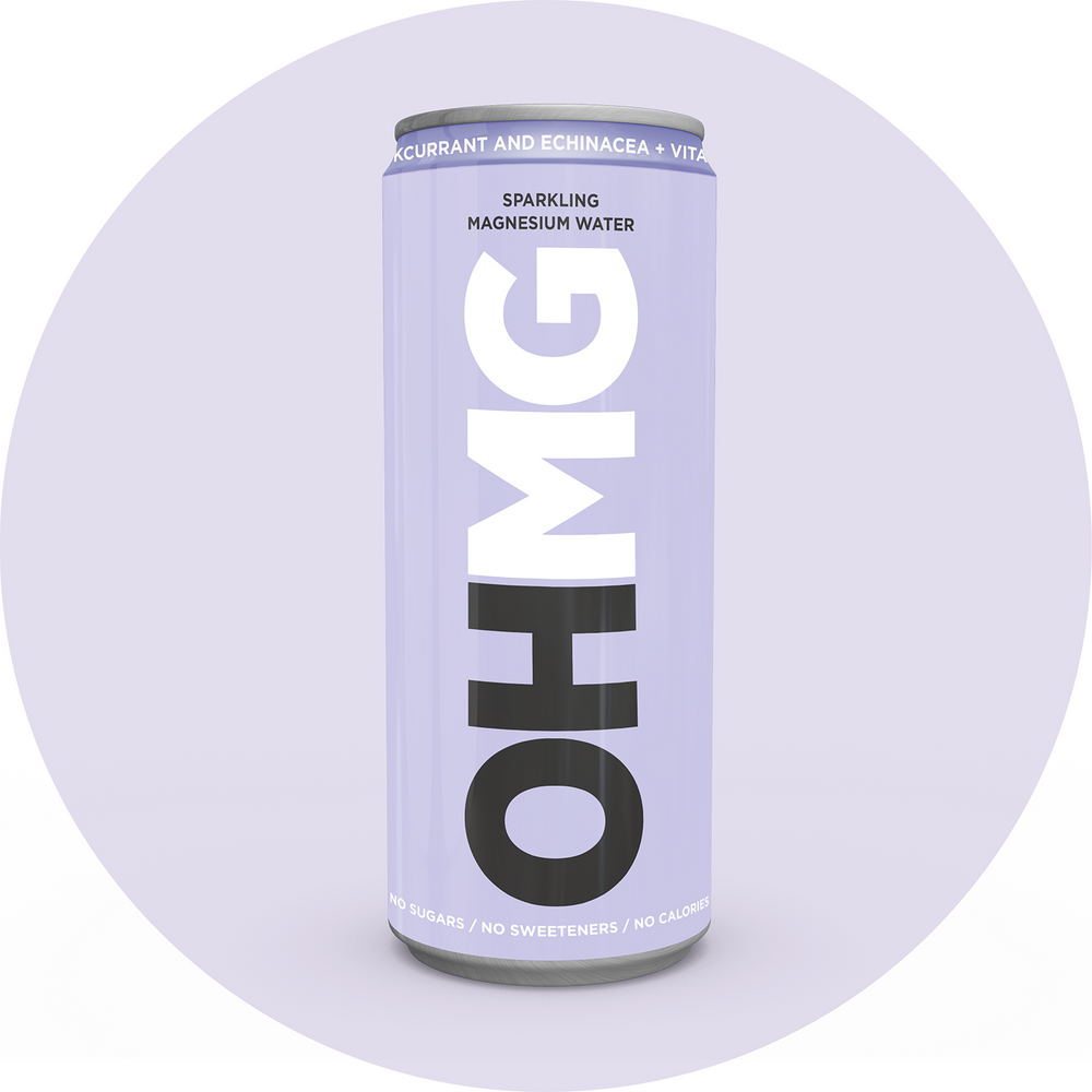 Can of OHMG Blackcurrant & Echinacea Vitamin Magnesium Functional Water