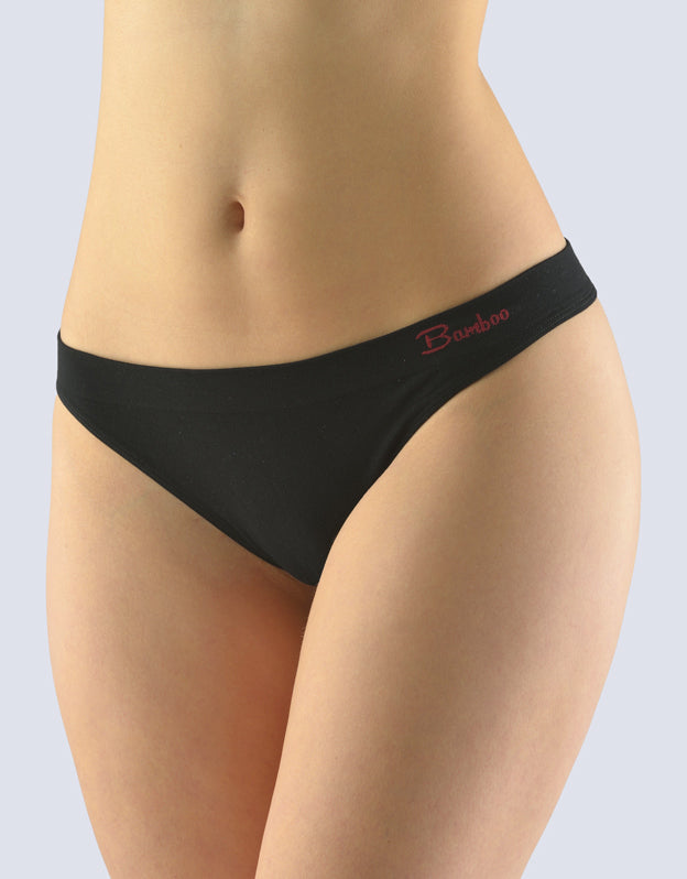 Thongs with a narrow waist Natural Bamboo Black color